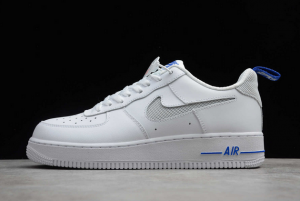 New Nike Air Force 1 Low Cut Out Swoosh White/Royal Blue DC1429-100