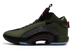2021 New Air Jordan 35 Olive/Black-Fire Red To Buy
