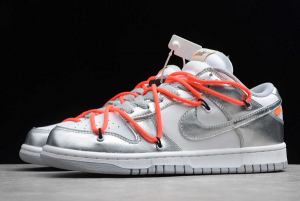 New Off-White x Nike SB Dunk Low Silver/White-Black For Sale CT0856-800-4