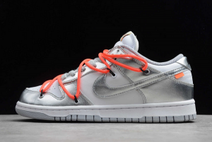 New Off-White x Nike SB Dunk Low Silver/White-Black For Sale CT0856-800