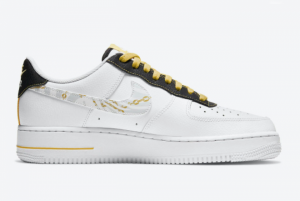 2020 Nike Air Force 1 Low Reflective Zebra Swooshes Gold Links DH5284-100-1