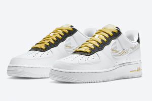 2020 Nike Air Force 1 Low Reflective Zebra Swooshes Gold Links DH5284-100-2