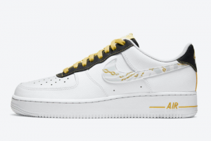 2020 Nike Air Force 1 Low Reflective Zebra Swooshes Gold Links DH5284-100