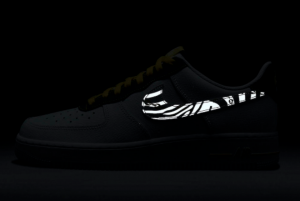 2020 Nike Air Force 1 Low Reflective Zebra Swooshes Gold Links DH5284-100-4