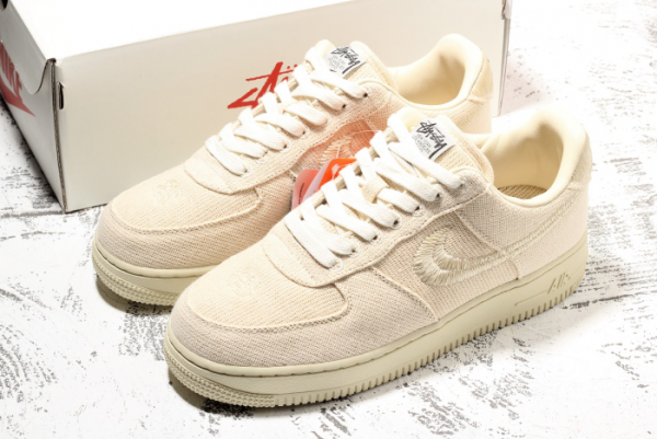 2020 Stussy x Nike Air Force 1 Low Beige For Sale Online CZ9087-200-3