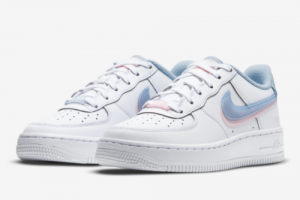 Nike Air Force 1 LV8 Double Swoosh White Armory Blue Pink CW1574-100-3